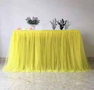 Yellow tulle table cloth