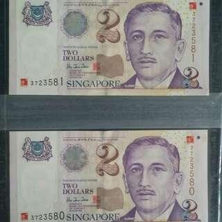 SG Millenium $2 Portrait Old Paper Notes × 2 pcs - Running No