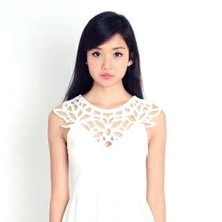 awd andwelldressed floral laser cut dress in white