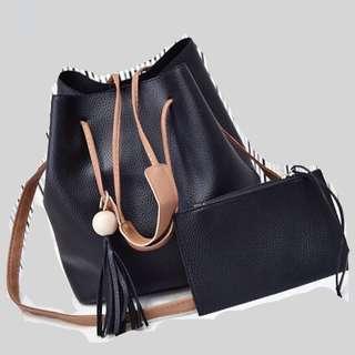 🚚 (Sales) Black Bucket Sling Bag Set with Free Wristlet