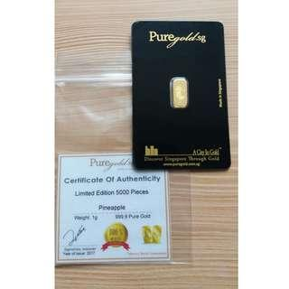 1g Puregold pineapple gold bar