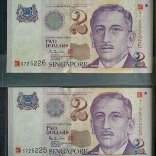 SG Millenium $2 Portrait Old Paper Notes × 2pcs - Running No.