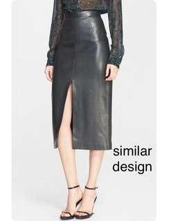 Jason Wu lookalike front slit leather skirt