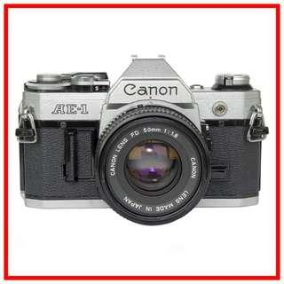 Canon AE-1 AE1 35mm Film Camera +  FD 50mm F1.8