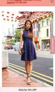 🚚 Montifs Arya Mandarin Collar Dress – Navy
