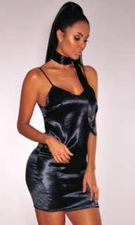 Satin Choker Black Dress