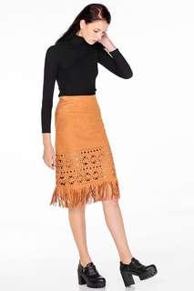 🚚 The Closet Lover Talyn Fringe Skirt in Tan size S