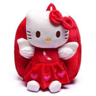 🚚 Baby Plush Backpack Hello Kitty Cute Cartoon Children's School Bag for 1-4 Years Kindergarten Nursery School - Red