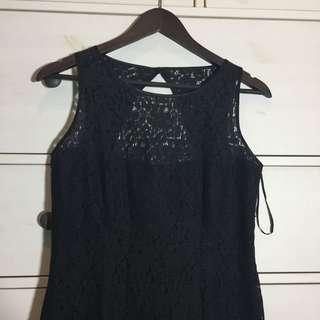 black lace mini party dress