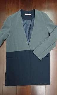 🚚 拼色厚雪紡單釦外套