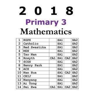 2018 P3 Math exam paper / soft copy / hard copy