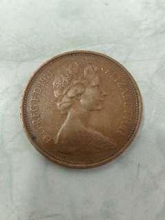 UK 1971 2 pence coin