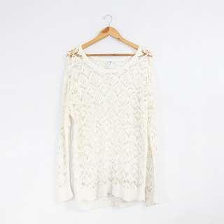 Korean Fashion Style White Knitted Topper Sweater Top
