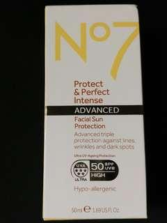 No7 Protect & Perfect Intense Advanced facial suncare SPF50+ 50ml 防曬