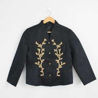 (S-M) Vintage Black Textured Jacket Coat