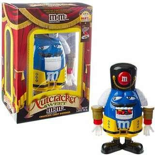 M&M's Limited Edition Nutcracker Sweet Holiday Candy Dispenser, Blue Character with Red Holiday Suit