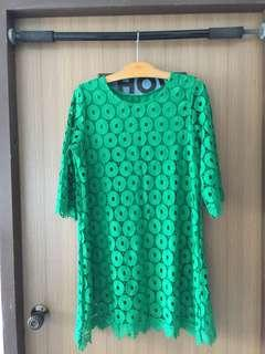 Green laced dress