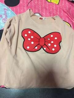 Brand new Long sleeve nude Minnie Mouse ribbon TOP