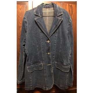 🚚 深藍色長版牛仔外套 (尺寸 L)