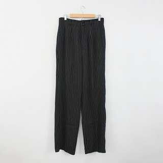 (M-L) Vintage High-Waisted Black Striped Relaxed Fit Pants