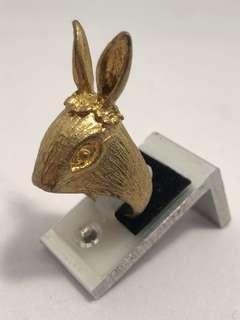🚚 古董 兔子小姐 黃銅戒指