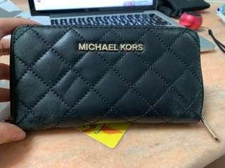 Michael Kors Black Quilted Leather Long Wallet