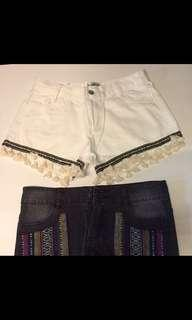 Tribal denim rainbow pastel colourful jeans shorts