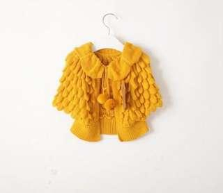 Little Girls Pom Pom cape cardigan