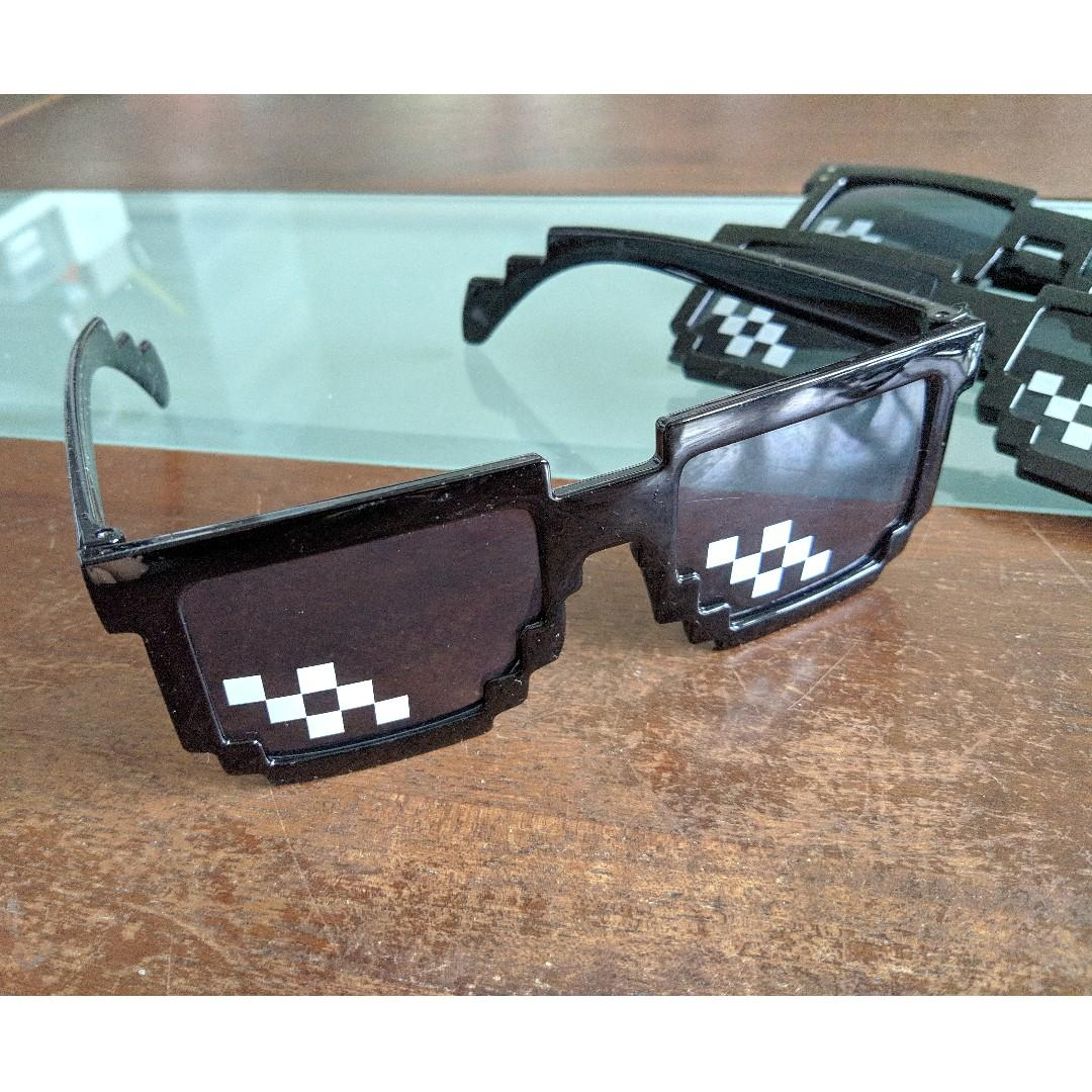 Thug Life Glasses Deal With IT Sunglasses Black Pixilated Mosaic Sunglasses New