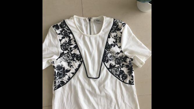 Angel Biba white and black pattern detail tshirt dress
