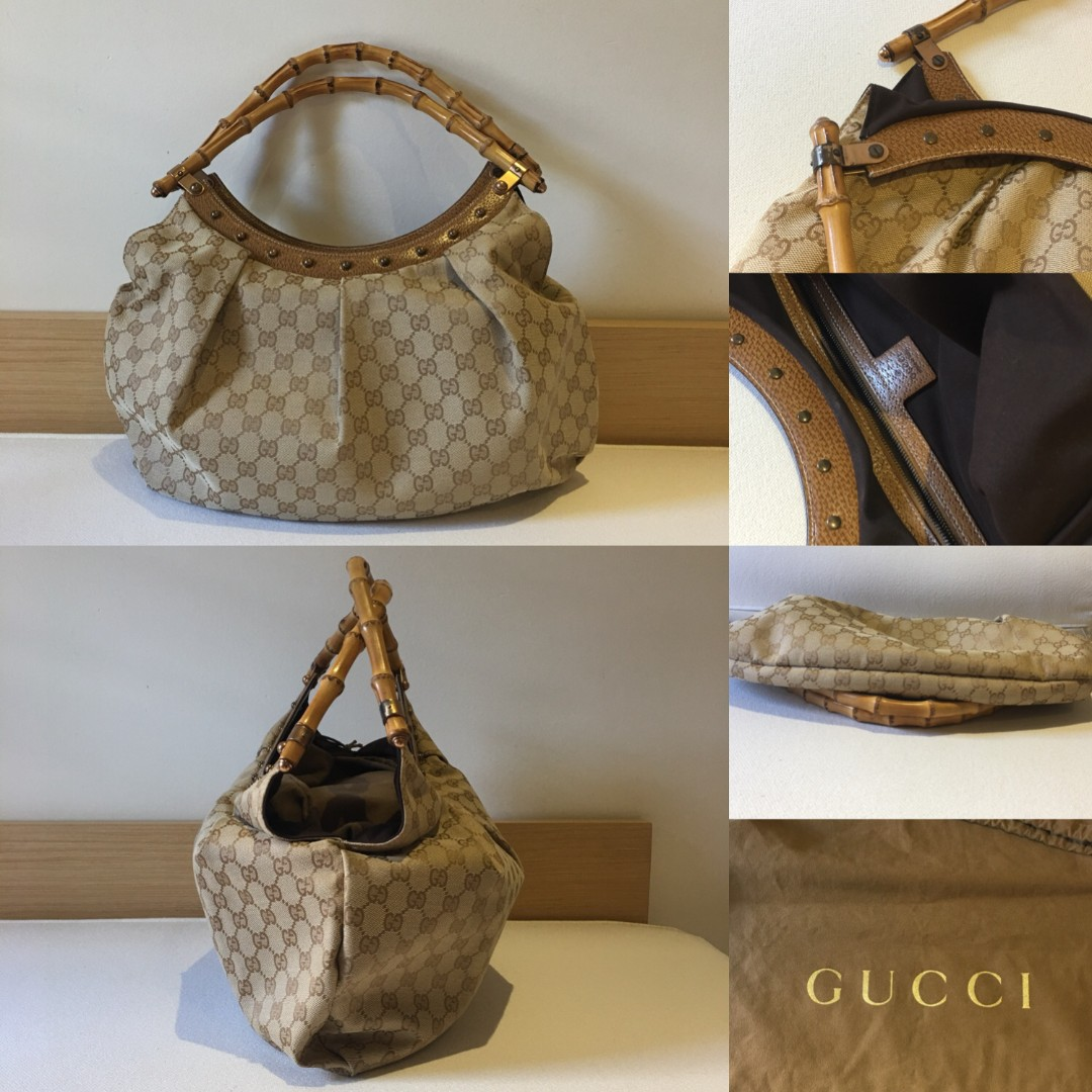 6d69234ca AUTHENTIC GUCCI MONOGRAM BAMBOO HANDLE BAG, Luxury, Bags & Wallets ...