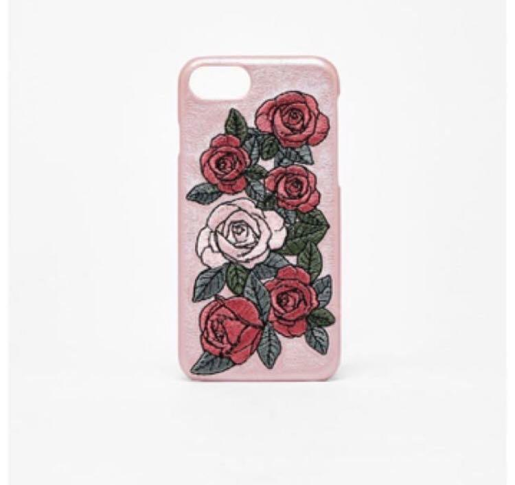half off 66d28 1c69a Bershka Rose Gold Leather Embroidered Iphone Case on Carousell