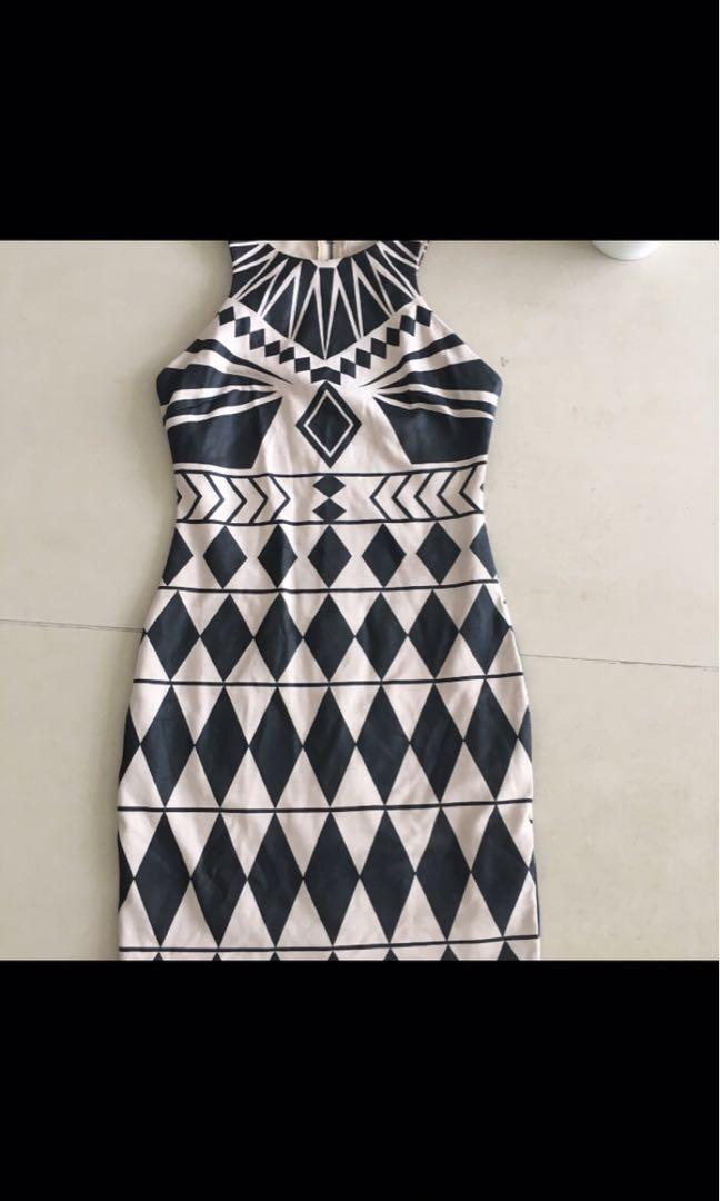 Black and beige bodycon dress with geometric leather look print detail