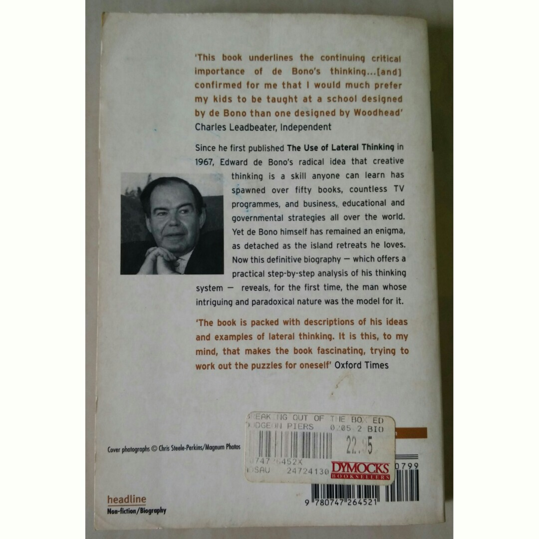 Breaking Out Of The Box The Biography Of Edward De Bono