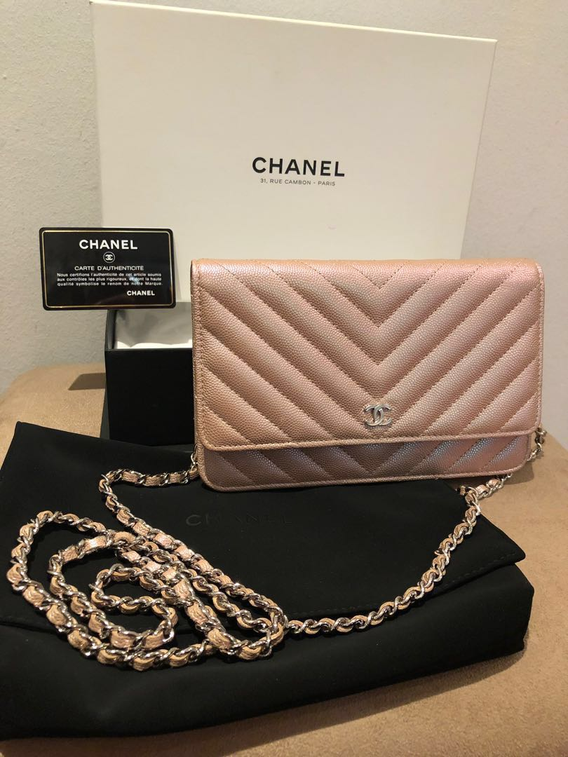 56a1c179775d Chanel iridescent light Rose gold 17b chevron WOC wallet on chain SHW,  Luxury, Bags & Wallets, Handbags on Carousell