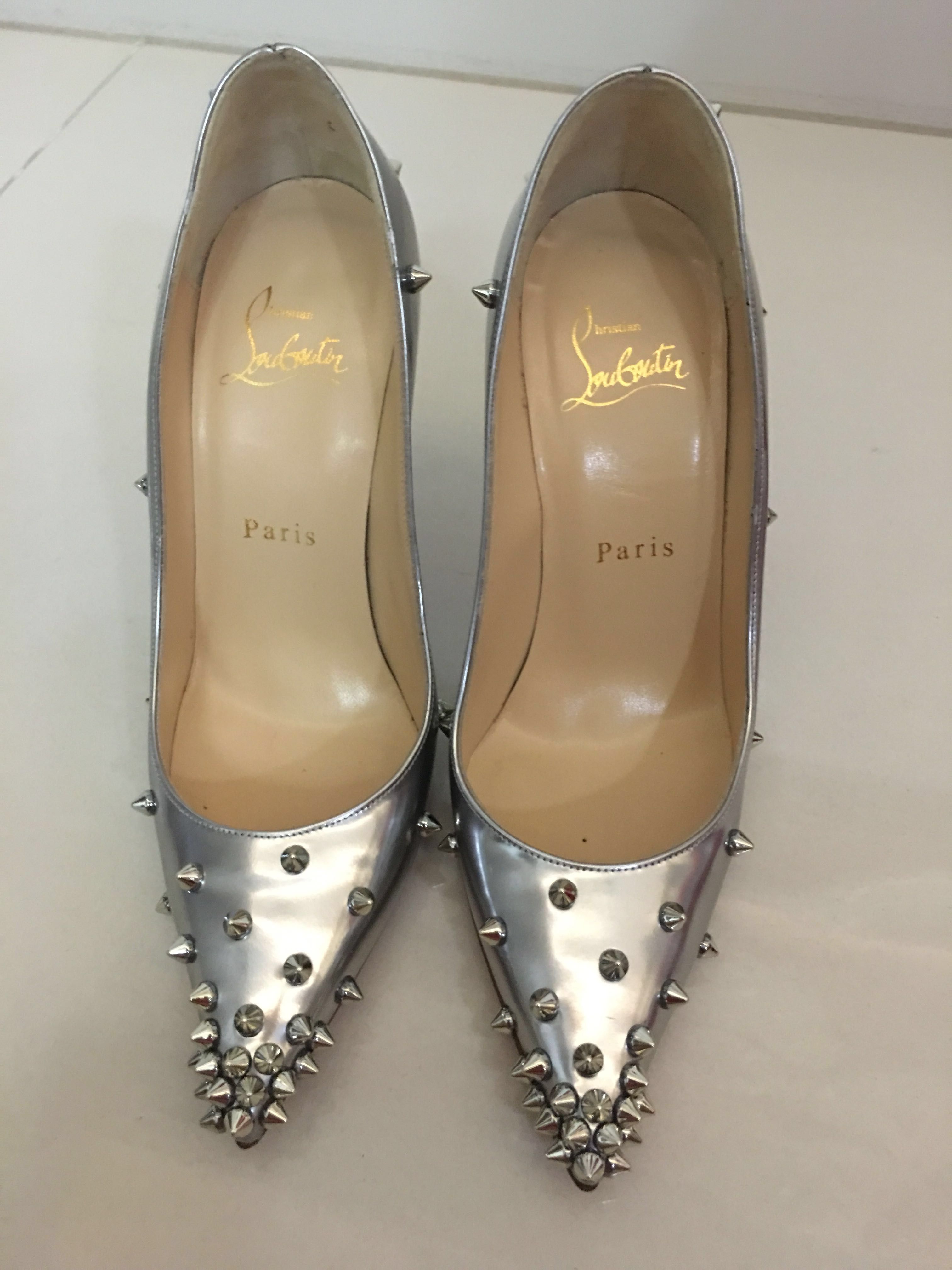 6fb4ca23e6a Christian Louboutin 120mm Degraspike Studded Leather Pumps Silver ...
