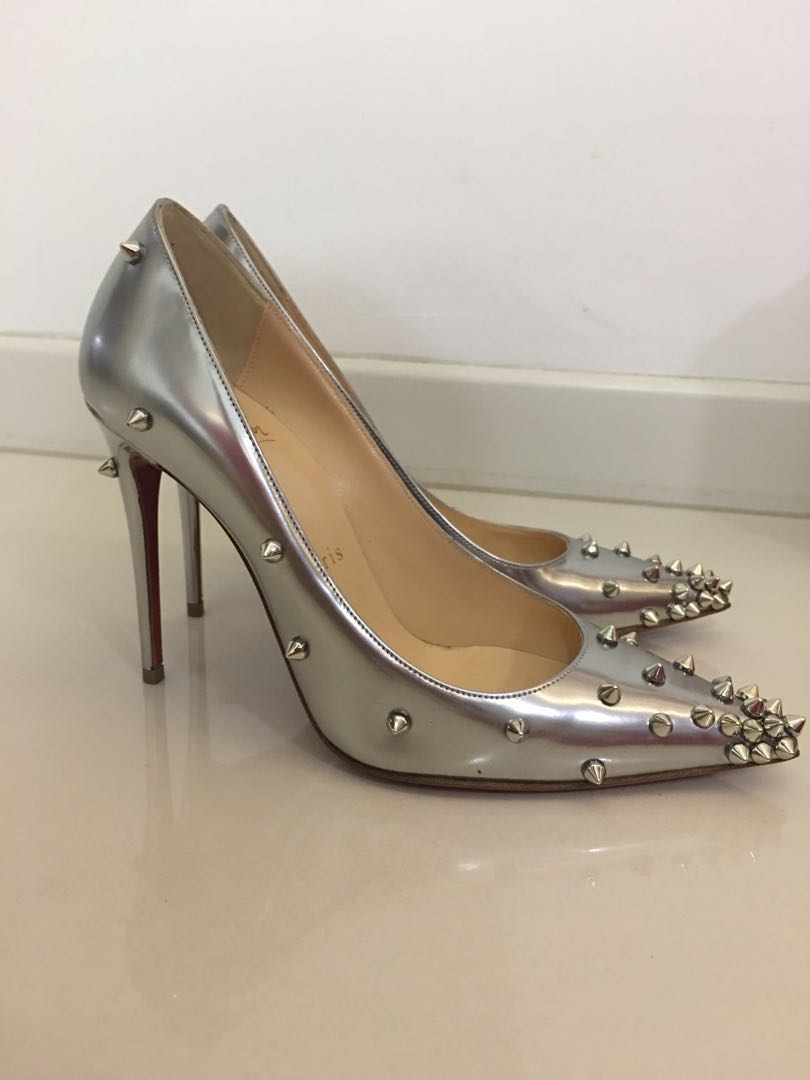 b96f8ead9cd Christian Louboutin 120mm Degraspike Studded Leather Pumps Silver ...