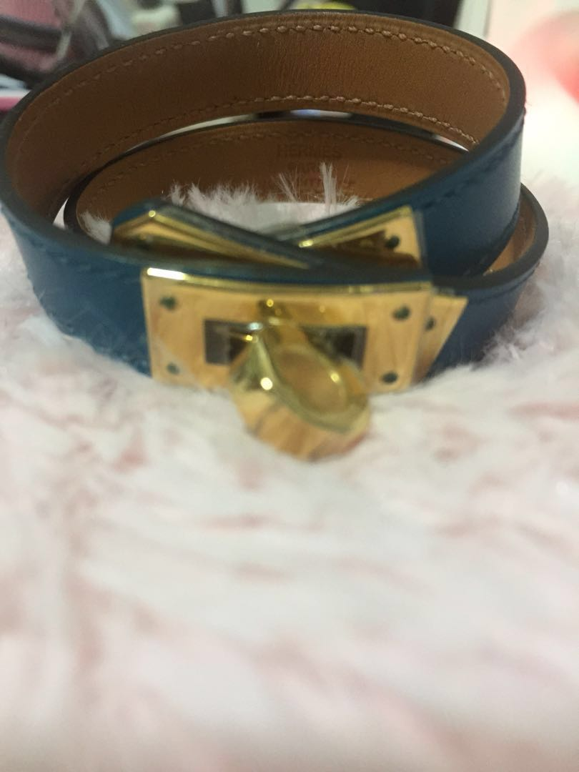 0fb2c31294 CLEARANCE-Brand new Hermes blue Izmir kelly double tour with gold ...