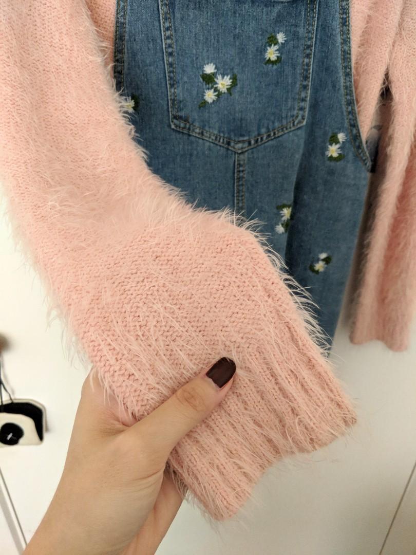 Denim Embroidered Dress + Pink Jumper