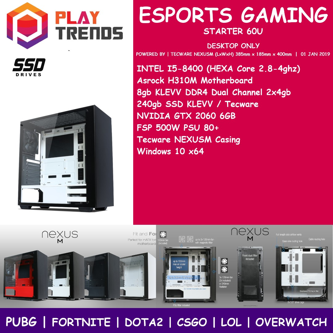 ESPORTS STARTER 60HU GAMING PC NEXUSM INTEL I5-8400 8gb Ram 240gb SSD RTX  2060 6GB NVIDIA RTX2060 MATX TECWARE NEXUS FORTNITE DOTA2 CSGO LOL  OVERWATCH