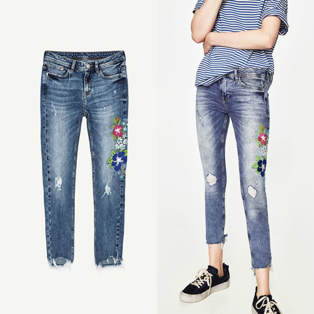 f75117fa EUR 32) Zara TRF Floral Embroidered Denim Ripped Jeans, Women's ...