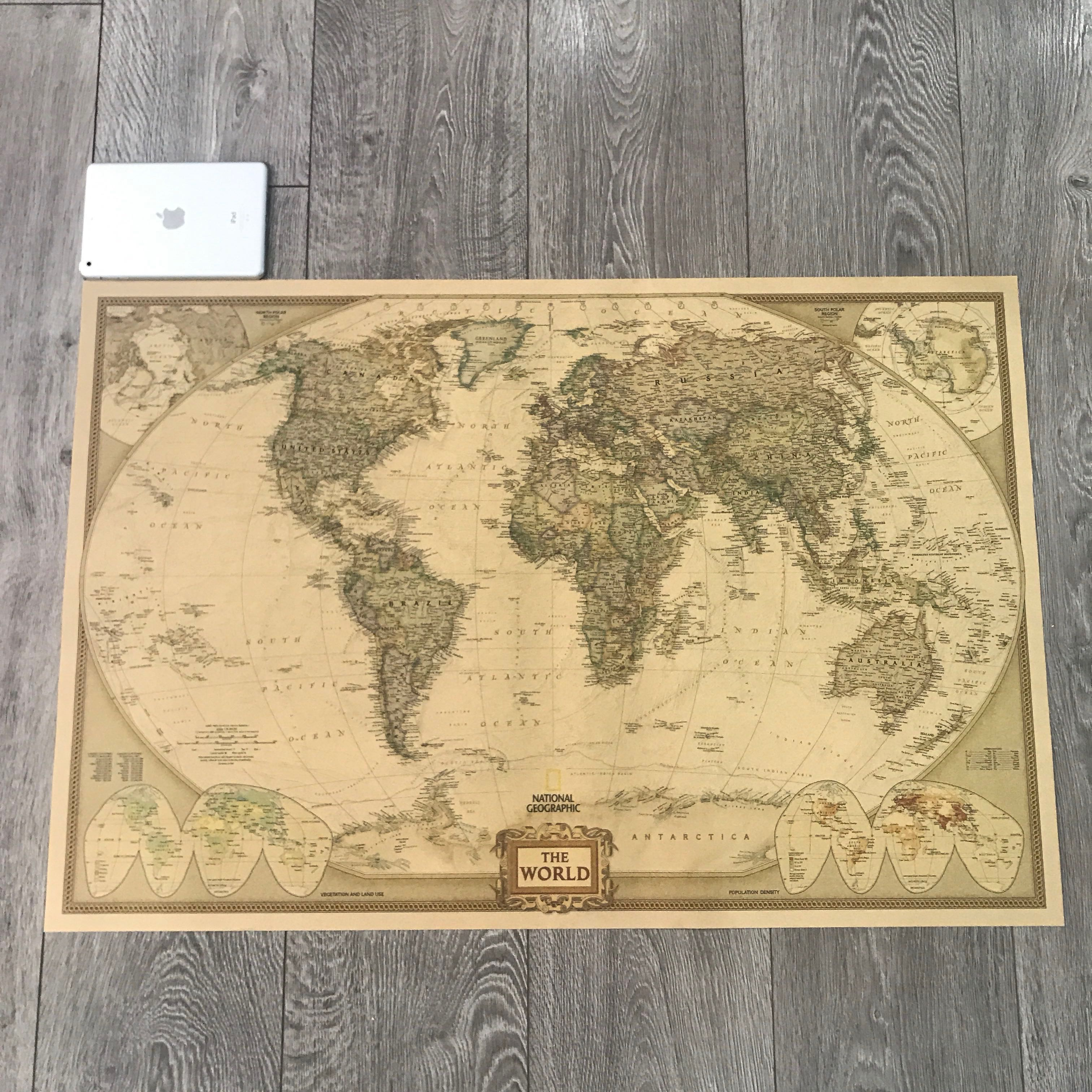 Large Paper World Map.Extra Large Kraft Paper Vintage World Map 100cm 67cm Furniture
