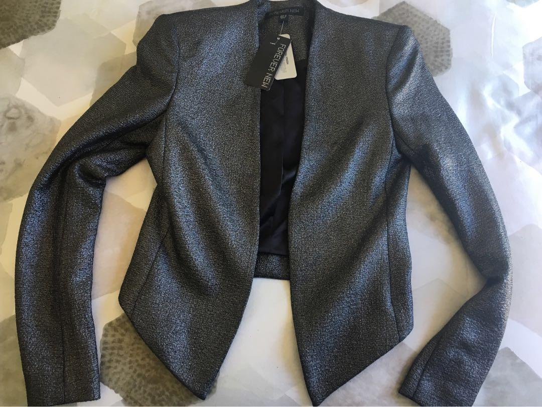 Forever New black /silver metallic finish crop jacket