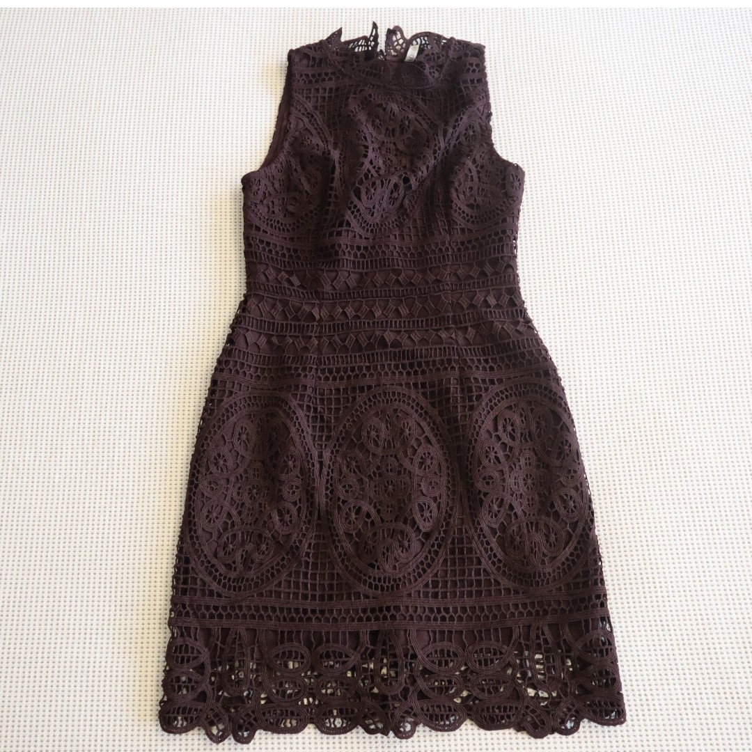 64a981a08d FOREVER NEW BURGUNDY LACE DRESS