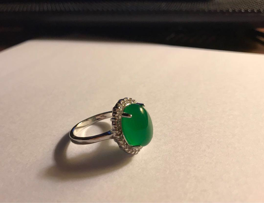 Further reduction! Beautiful ring with jade and Swarovski crystal