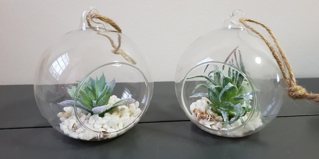 Glass Terrarium With Artificial Plant Furniture Home Decor Others