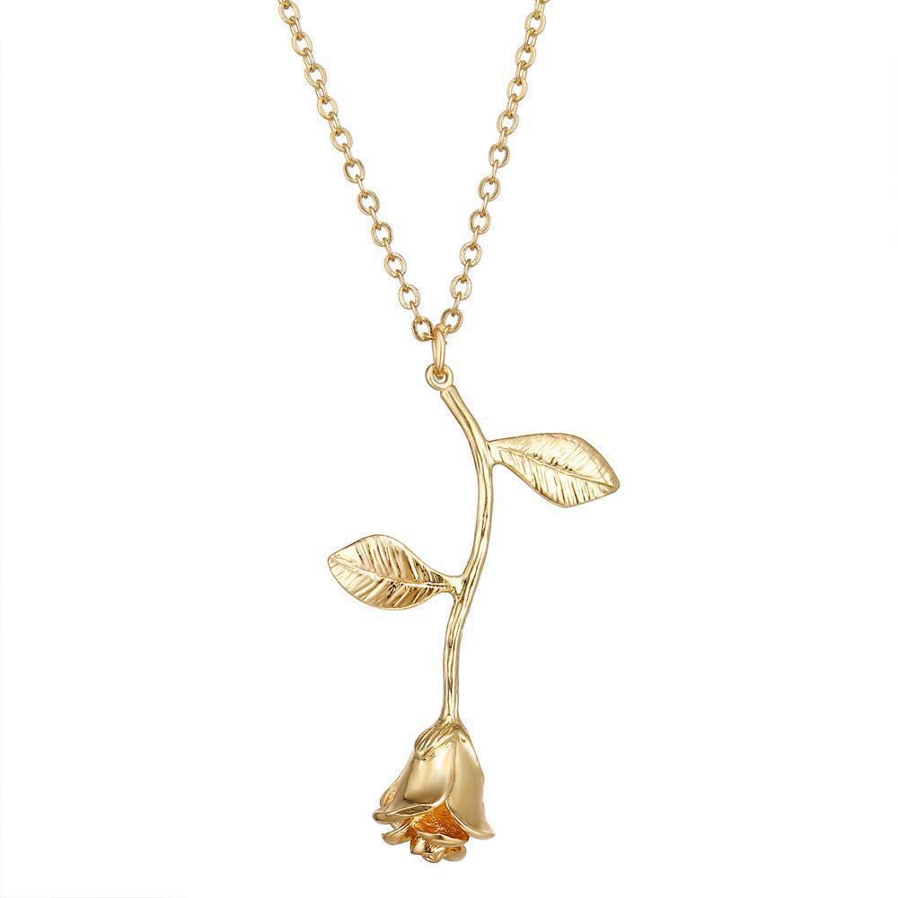 Instocks Gold Plated Necklace Rose For Her Birthday Present Couple