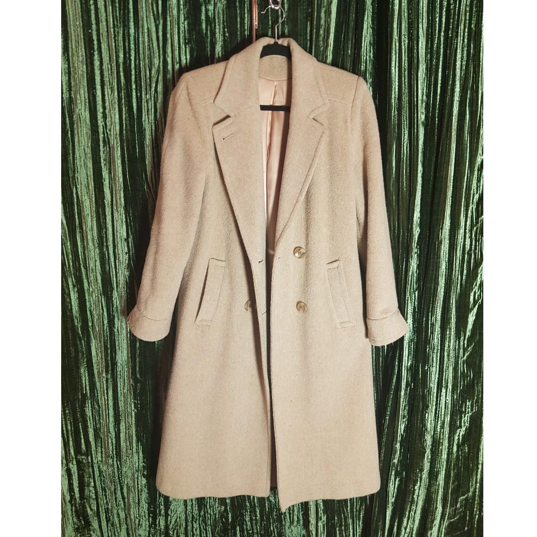 Long Mid-calf pure virgin wool tan coat. Gently Used. Size 8.