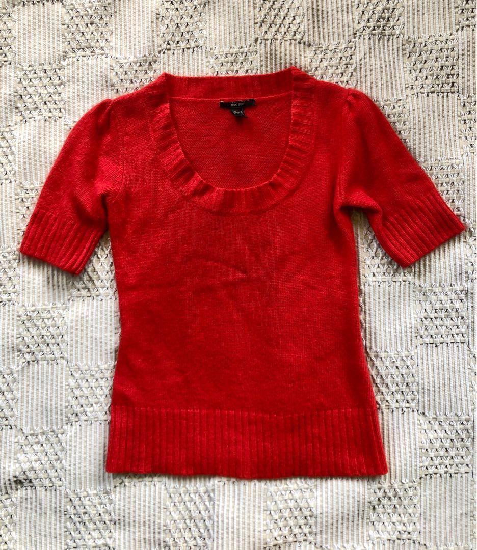 4293985add7b22 MANGO Scoop Neck Angora-Wool-Polyamide Sweater RED size X-SMALL ...