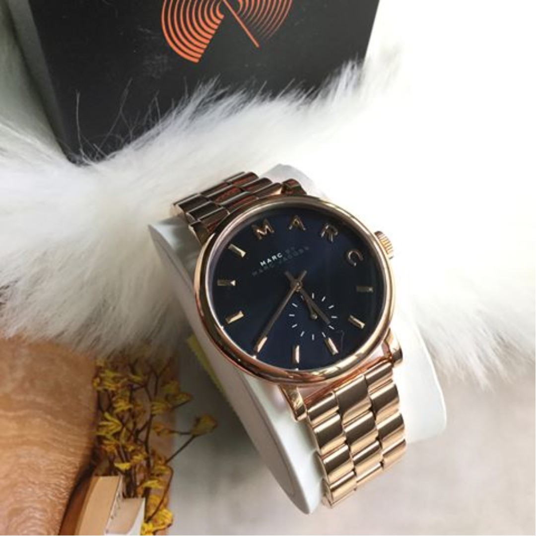Marc By Marc Jacobs Baker Navy Dial Rose Gold Tone Steel 36mm